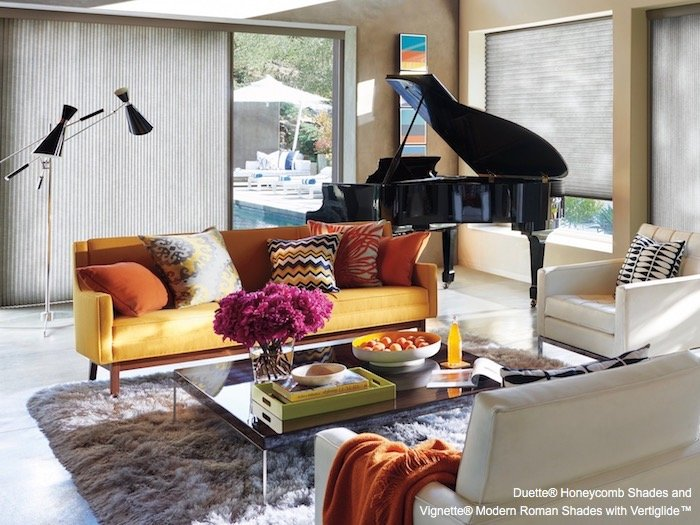 Duette Honeycomb Shades and Vignette Modern Roman Shades by Hunter Douglas available at The Blinds Man